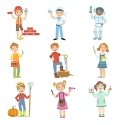 Kids And Their Dream Jobs vector image vector image