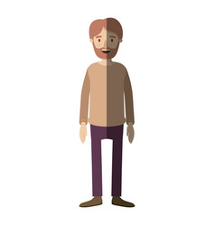 Light color shading caricature full body man vector