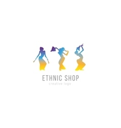 Logo ethnic store three dancing girls vector