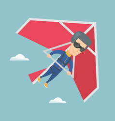 man flying on hang-glider vector image vector image