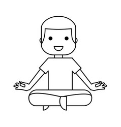 Man practicing yoga character vector