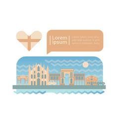 milan street city panorama facade skyline cartoon vector image