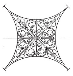 Mural painting panel is a romanesque design vector