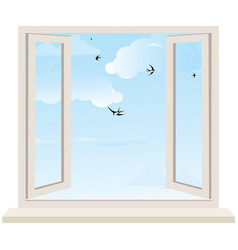 Open window on wall and cloudy sky with birds swal vector image