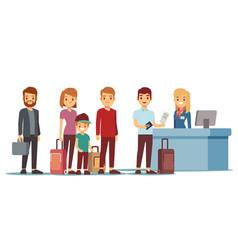 People queue in airport at registration desk vector