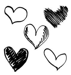Set hand drawn hearts vector image vector image
