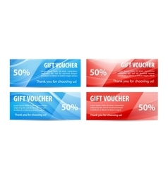 Set of gift vouchers with wavy shiny blue vector