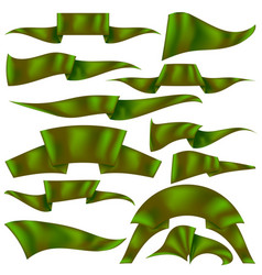 Set of green ribbons vector