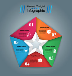 Star 3d digital infographic vector