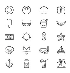 Summer relax and beach icons line vector