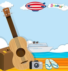 Summer theme with cruise and travel objects vector
