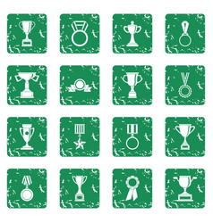 trophy icons set grunge vector image