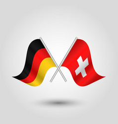 Two crossed german and swiss flags vector