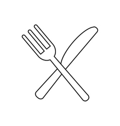Utensils kitchen crossed fork and knife outline vector