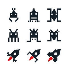white background with icons space aliens and vector image