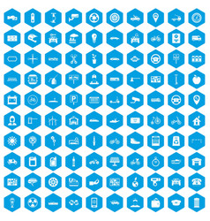 100 parking icons set blue vector