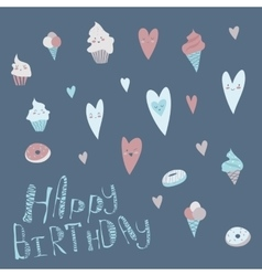 Birthday design with hearts and cupcakes vector image