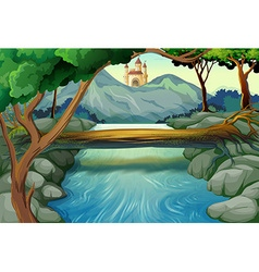 Scene with river and castle towers vector