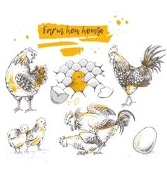 Set of farm chicken family vector