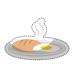 Delicious bread with egg fried isolated icon vector