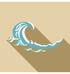 Sea wave icon flat style vector