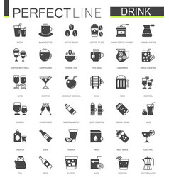Black classic web drinks icons set vector