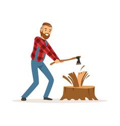 Lumberjack man in a red checkered shirt chopping vector