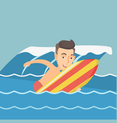 Happy surfer in action on a surfboard vector