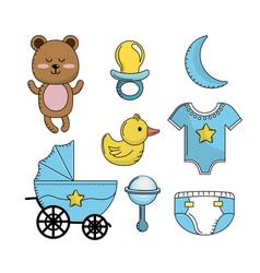 set baby shower boy tools elements vector image