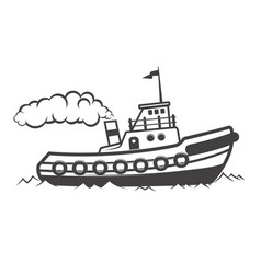 towing ship isolated on white vector image