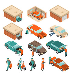 Garage isometric set vector
