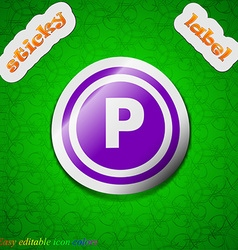 Car parking icon sign Symbol chic colored sticky vector image
