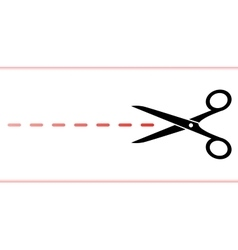 Scissors with red dotted line vector
