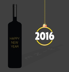Happy new year wine christmas ball vector
