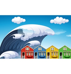 Tsunami with big waves over houses vector
