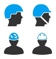 Worker hardhat flat bicolor icons vector