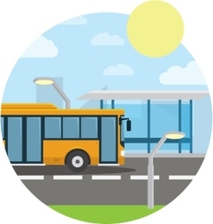 Flat style concept of public transport city bus vector
