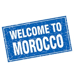 Morocco blue square grunge welcome to stamp vector