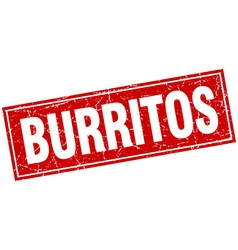 Burritos red square grunge stamp on white vector