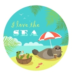 Cute seal and turtle sunbathing under umbrella vector