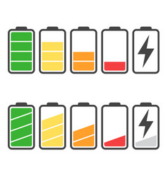 Battery icon set isolated on white background vector