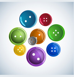 Beautiful colorful glossy buttons clothes on a vector