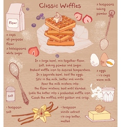 Belgian waffles recipe card vector