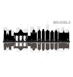 brussels city skyline black and white silhouette vector image