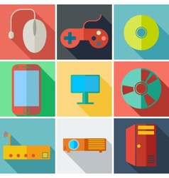 Collection modern flat icons computer mobile vector image vector image