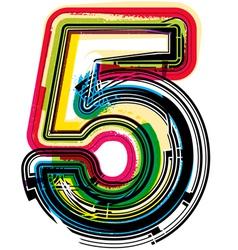 Colorful grunge font number 5 vector