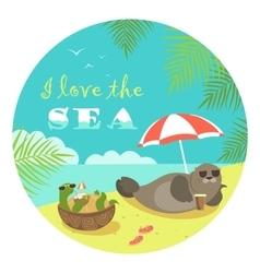 Cute seal and turtle sunbathing under umbrella vector image