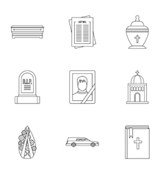 Death icons set outline style vector