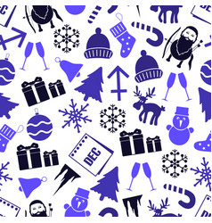 December month theme set of icons seamless vector