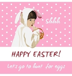 Funny easter holiday card Bunny egg hunt vector image